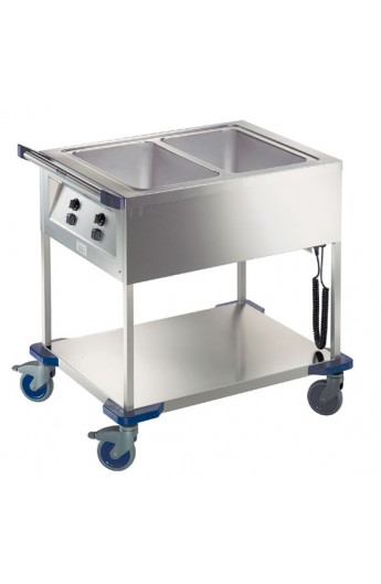 Chariot distribution repas chaud 2 X GN 1/1