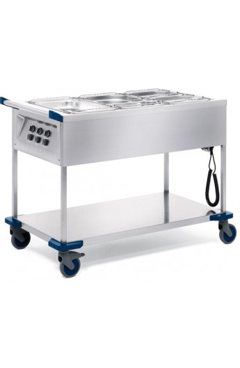 Chariot distribution repas chaud 3 X GN 1/1
