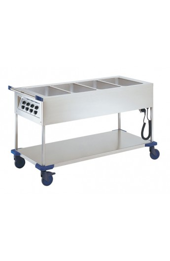Chariot distribution repas chaud 4 X GN 1/1
