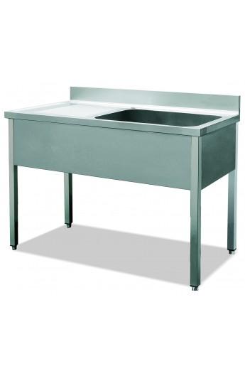 Bloc évier 1 vasque avec plan de travail (sans rayon de base et sans porte)